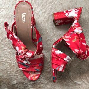 Lewit Red Floral Heels